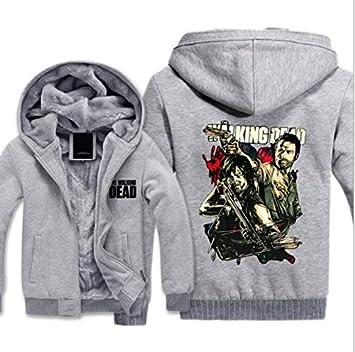 冬に適しメンズパーカーフルジップベルベットDEAD印刷太いフード付きセーターコートフリースパーカー、