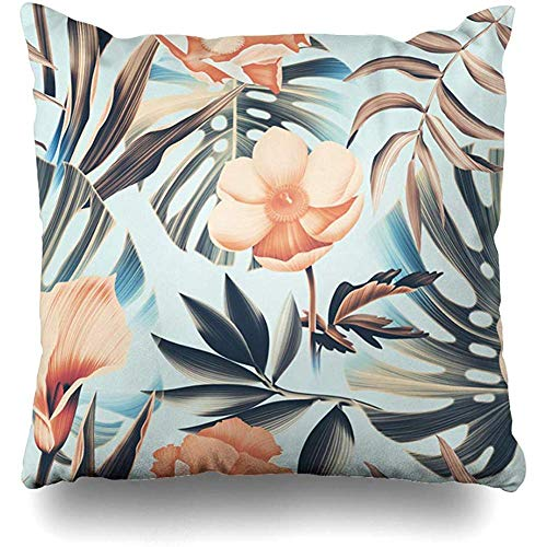 Decorative Throw Pillow Cover Vintage Floral Tropical Flower Plant Leaf Pattern Summer Green Hawaii Abstract Leaves Hula Design Home Decor Pillowcase Square 18
