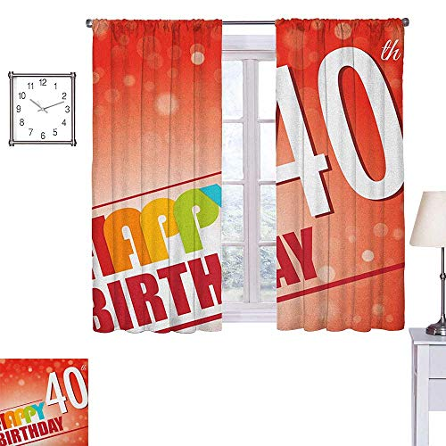 40th Birthday Customized Curtains Party Invitation in Vibrant Colored Retro Style and on Bokeh Effect Backdrop 55