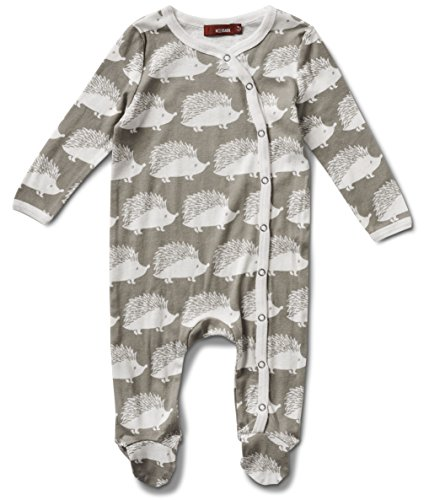 Milkbarn Organic Cotton Long Sleeve Footed Romper (Gray Hedgehog, 3-6 Months)