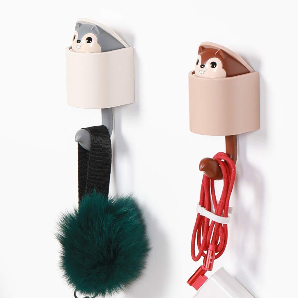 Eve.Ruan 1 Pc Cute Cartoon Squirrel Shape Home Adhesive Wall Hook Sticky Hangers Door Hook Hanger Irene Craft Wall Decor No Drill for Keys//Coats//Robe//Bags in Kitchen//Bathroom//Utility Room