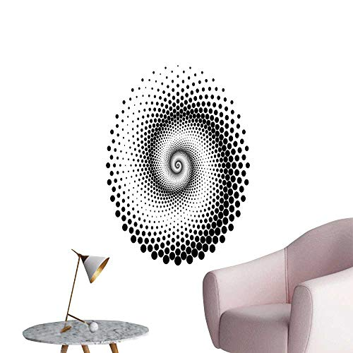 (Abstract Wall Mural Wallpaper Stickers Black Dots Forming a Spiral Shape Monochrome Circle Twist Optical Art Elements Children's Room Wall Black White W24 x H36)