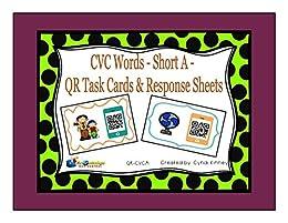 CVC Words - Short A - QR Code Task Cards & Response Sheets by [Kinney, Cyndi]
