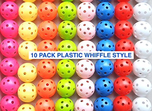 Kid Technologies (10-Pack Whiffle Air Flow Style Plastic Practice Golf Balls (Hot Pink)
