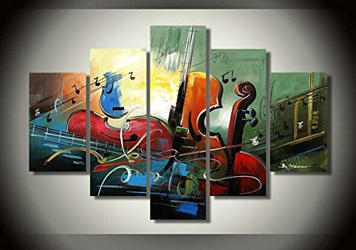 Ode-Rin Art Christmas Gift 100% Hand Painted on Canvas Abstract Creative Musical Instrument Paintings Wall Art Oil Painting 5-pieces Artwork for Living Room Home and Wall (Wallpaper Artworks)