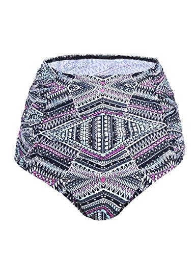 Shirred Tankini Tops Bottom (Septangle Women's Vintage High Waisted Bikini Bottom Shirred Tankini Briefs (8, Purple Geometric Pattern))