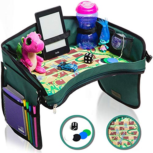 Flash Sale! Kids Car Seat Tray - Bonus Snakes + LADDERS Game | Reinforced Base + Walls | Detachable Kids Travel Tray | Portable Toddler Travel Activity Tray | Foldable Baby Car Tray for Kids in Car