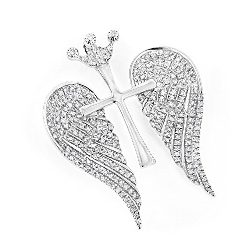 18k White Gold Pave Diamond Pendant (Luxurman 14K Unique Angel Wings Natural 0.4 Ctw Diamond Cross Pendant With Crown (White Gold))