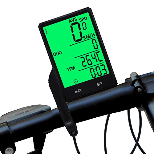 Bike Computer Wireless Waterproof Bicycle Cycle Speedometer and Odometer with Automatic Wake-up Backlight Motion Sensor LCD Display ()