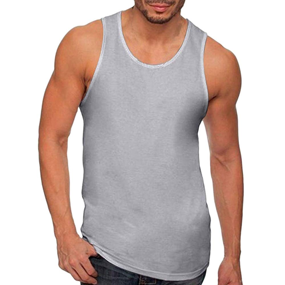 Men's Workout Tank Tops Cotton Muscle Cut Off T Shirt Summer Sleeveless Gym Vest Tops