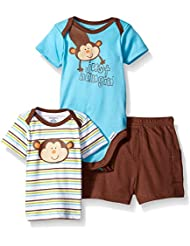 Gerber Baby Boys' 3 Piece Bodysuit, Lap-Shoulder Shirt, and Short Set