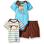 Gerber Baby Three-Piece Bodysuit Lap-Shoulder Shirt and Short Set, Monkey/Exclusive, New Born