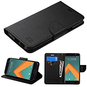 HTC 10 Case, One M10 Case, JoJoGoldStar Bicast Leather Folio Wallet Flip Cover with Card Slots and Kickstand, Includes Screen Protector and Stylus - Black