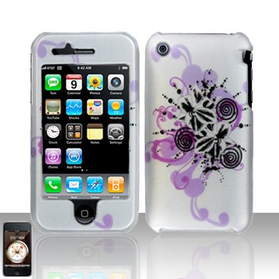 3g Faceplate (Purple Hawaiian Flower Design Rubberized Leather Touch Snap on Hard Cover Protector Faceplate Skin Case for At&t Apple Iphone 3g)