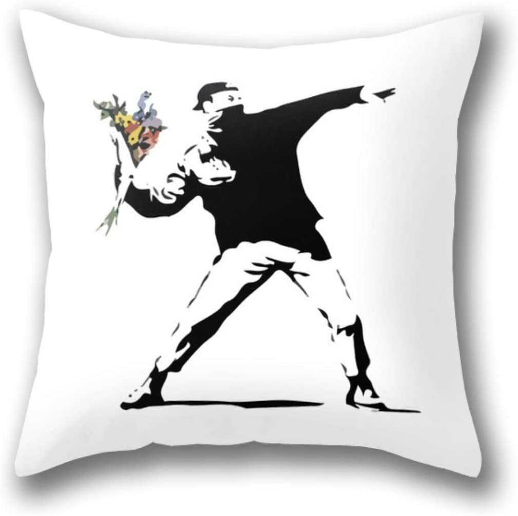 Amazon Com Nywdzt Banksy Flower Thrower Pillow Cover Standard Throw Pillowcase 18x18 Inch Home Kitchen