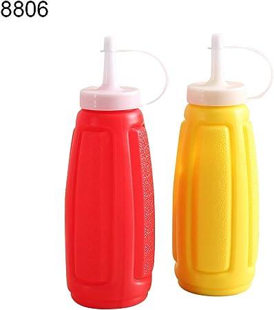 Plastic Squeeze Bottle Condiment Distributeur Ketchup Sauce Moutarde Vinaigre TB