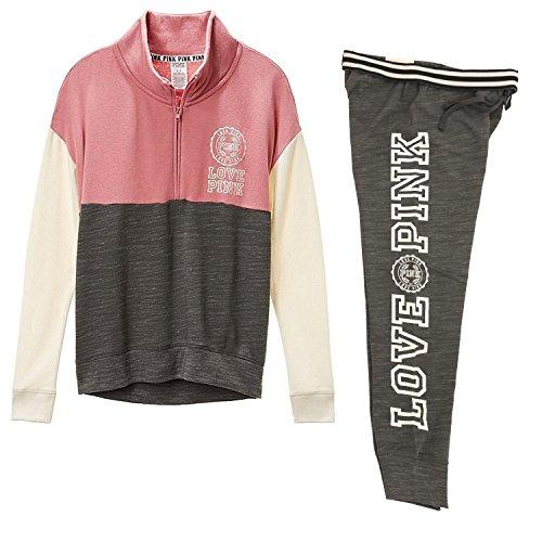 Victoria's Secret PINK High-Low Half-Zip & Gym Pant sweat set, Begonia/Gray, Medium