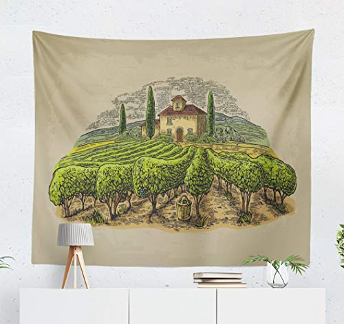 (Kutita Tapestry Wall Hanging Rural Landscape with Villa Vineyard and Hills Color Vintage Old Beige Wall Tapestry Home Decorations for Bedroom Living Room Dorm Decor in 60