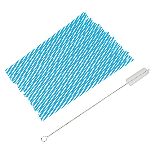 astic Straws + Cleaning Brush For Tumblers And Mason Jar Glasses (Blue) ()