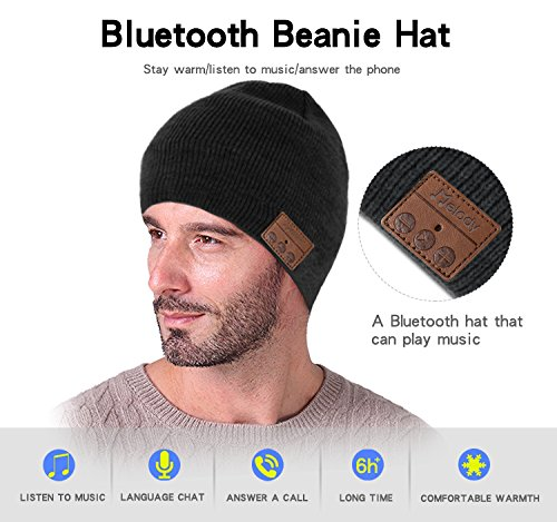 Bluetooth Beanie Music Hat ,Coeuspow 4.1 Wireless Smart Beanie Headset Music Cap with HD Stereo Speaker ,Built-in Mic , 100% soft acrylic,Hand Free for Running Skiing Skating Christmas Gift-Black