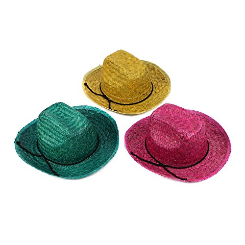 Fun Central BC743 12ct Adult Neon Straw Cowboy Hat - for Cowboy Themed Party,Costume Party,Birthday - Assorted]()