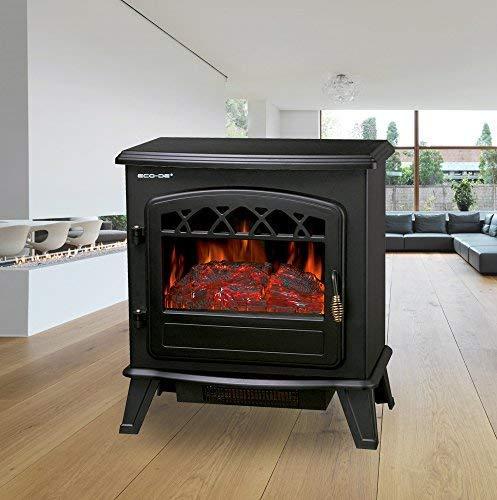 ECO-DE Chimenea eléctrica, Calefactor de 1800 W con termostato Ajustable, con leña Decorativa e ilusión de Llamas. Intensidad de luz Ajustable y Libre de ...
