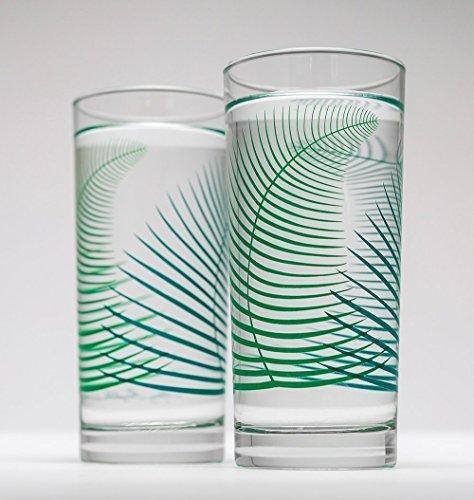 Highball Beverage (Summer Ferns Glassware - Set of 2 Everyday Drinking Glasses, Wedding Gift, Gift for Her)