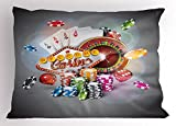 Lunarable Poker Tournament Pillow Sham, Welcome to Casino Colorful Chips and Cards Dice and Roulette Win Jackpot, Decorative Standard King Size Printed Pillowcase, 36 X 20 Inches, Multicolor