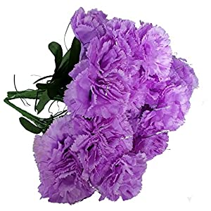 MM TJ Products Artificial Carnations Bushes. 7 stems Pack of 4 bushes (Lavender) 1