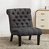 YongQiang Home Furnishings Accent Chair Living Room Upholstered Modern Tufted Button Casual Lounge Seat With Wood Legs Gray