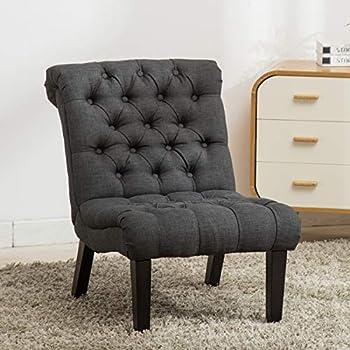 Amazon Com Baxton Studio Caelie Gray Linen Modern Lounge