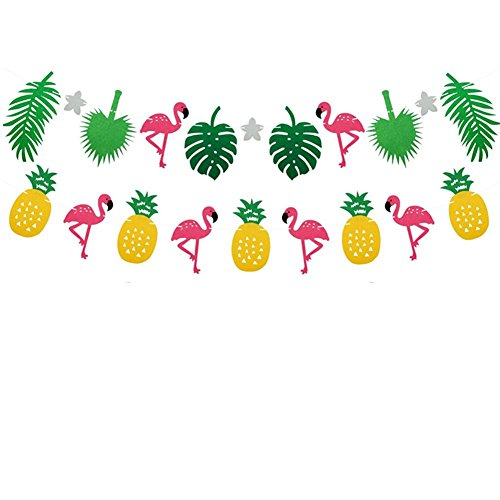 TianJi Happy Birthday Banner Party Supplies Pink Flamingo Pineapple Tropical Leaves Party Banner For Luau Hawaiian Summer Beach Girls Room Decoration Happy Birthday Banner Pennant(2 Pack) -