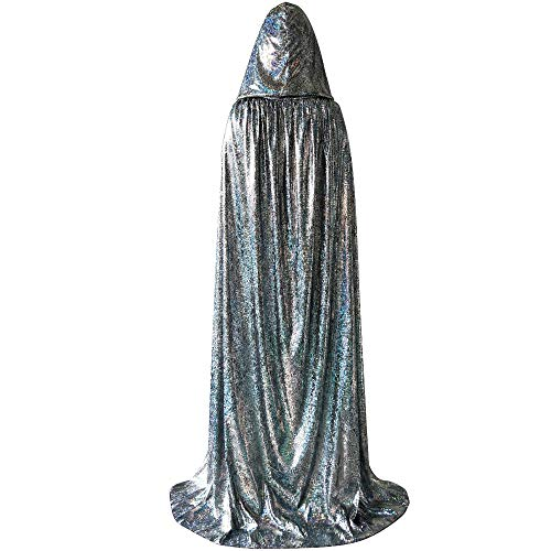 Unisex Full Length Halloween Hooded Cloak, Shiny Christmas Party Robe Cape Costume ()