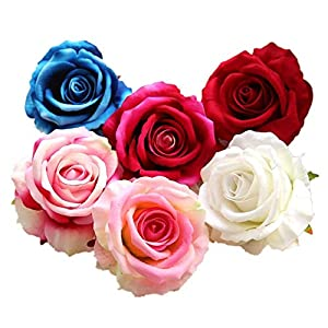 Kirinhomelife Artificial Fake Flowers Silk Big Roses Heads Flower Arrangements Real Touch Flannel Wedding Decorations Floral Table Centerpieces for Home Kitchen Garden Party Décor 96