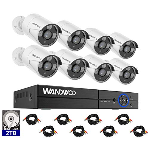 Wired Security Camera System, Wandwoo 8CH 5MP DVR Surveillance Camera System(2TB Hard Drive), 8PCS 1080P Indoor&Outdoor Home Security Camera, Free APP for Smartphone Remote Monitoring