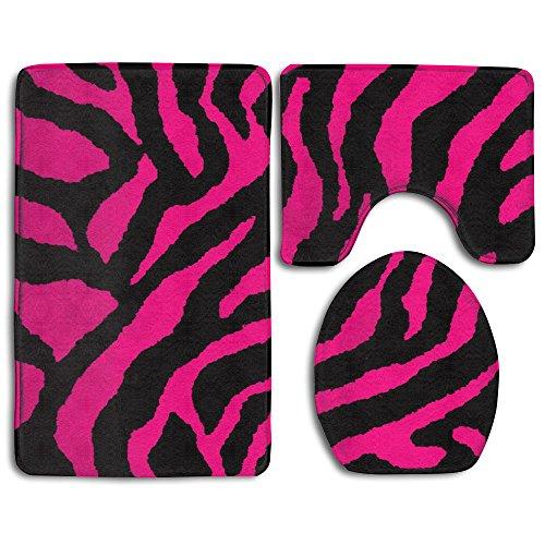 Pink Black Zebra Bath Mat Bathroom Carpet Rug Washable Non-Slip 3 Piece Bathroom Mat Set