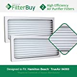 2 - Hamilton Beach 04383 04384 04385 Filters, Part # 990051000. Designed by FilterBuy to fit Hamilton Beach True Air 04383 Air Purifier.