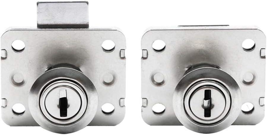 XAN 2 Pack Cylinder Cam Drawer Lock Desk Wardrobe Cabinet Locker Furniture Hardware Lock w 4 Keys (Not Universal, A Pair of Keys Corresponds to A Lock)