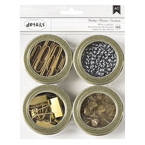 American Crafts Office Supplies Tin Set with Circle Clips/Clothespins/Paper Clips/Circle Push Pins, Gold by American Crafts (Image #1)