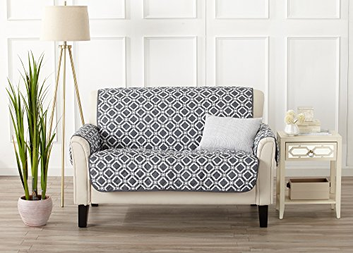 Strap Furniture Collections (Printed Deluxe Reversible Stain Resistant Furniture Protector with Printed Pattern. Includes Adjustable Elastic Straps. Liliana Collection By Great Bay Home Brand. (Loveseat, Steel Grey))