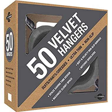 Closet Complete Velvet Hanger Set- No Slip Velvet Suit Hangers- Space Saving Clothes Hangers For Children & Adult Clothes- Great For Skirts, Dresses, Suits, Shirts & More- Slim Gray Design, Set of 50