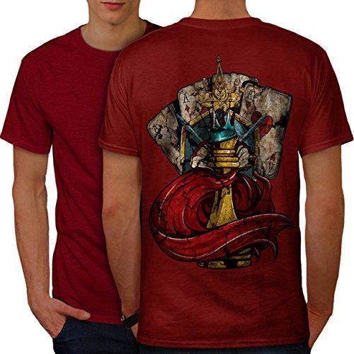 wellcoda Chess Poker Card Casino Men Red 5XL T-Shirt Back