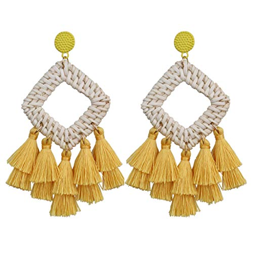 m·kvfa Bohemian Rattan Tassel Earrings Handmade Long Square Ladies Jewelry Hook Dangle Earings Crystal Bead Gift Party Wedding Drop Earings Pendant (Yellow)