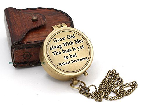 Roorkee Instruments India Robert Browning Quote Grow Old Quote/Inspirational Gift/Directional Magnetic Compass for Navigation/Pocket Compass for Camping, Hiking, Touring (Camping Navigation Compass)