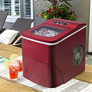 Tavata Countertop Portable Ice Maker Machine, 9 Ice Cubes ready in 8 Minutes,Makes 26 lbs of Ice per 24 hours,with LCD Display (Red)