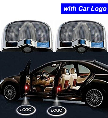 (2PCS No Drill Type LED Car Door Welcome Lights Projector Car Logo Ghost Shadow Lights Emblem Welcome Lamps for Dodge Lexus Renault Land Rover Nissan Acura Hyundai)