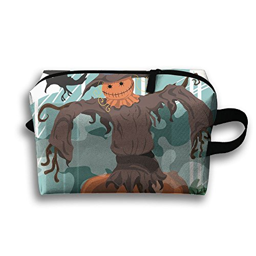 SHOUNABAG Scarecrow Halloween Pumpkin Crow Hat Scary Evil Dark Travel Cosmetic Bags Small Makeup Clutch Pouch Cosmetic And Toiletries Organizer (Halloween Scarecrow Makeup)