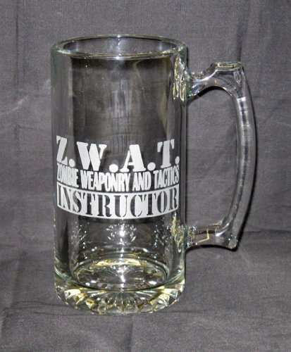 25-OZ-Etched-Glass-Sport-Stein-ZWAT-Zombie-Weapons-And-Tactics-Instructor
