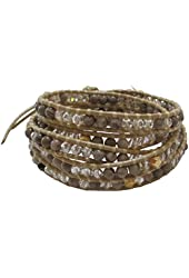 Chan Luu Semi Precious Earth Tone Wrap On Kansa Leather Bracelet