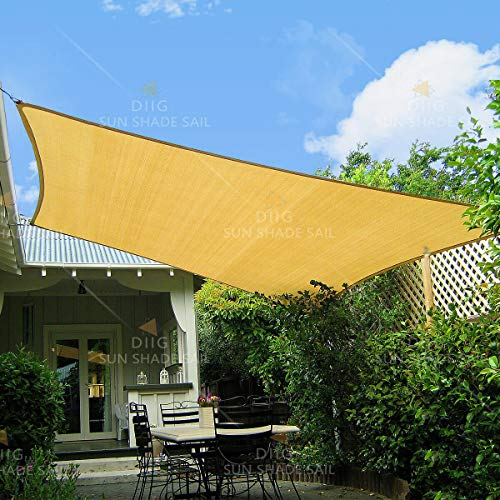 diig 10' x 13' Rectangle Shade, Sunshade Canopy Balcony Patio Yard Garden Pool Deck HDPE Cloth Fabric Sun Sail, Color Sand (Shade Provide Do Pergolas)